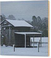 Winter Barn Wood Print