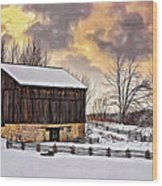 Winter Barn - Paint Wood Print