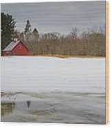 Winter Barn Wood Print