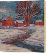 Winter Barn Scene Wood Print