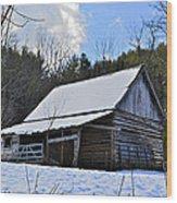 Winter Barn Wood Print by Susan Leggett