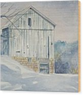 watercolor print Winter Barn painting for sale Wood Print