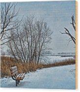 Winter Bench At Walnut Creek Lake Wood Print