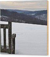 Winter Bench Wood Print