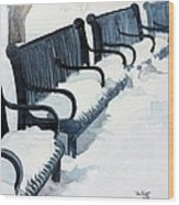 Winter Benches Wood Print