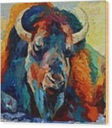 Winter Bison Wood Print by Marion Rose