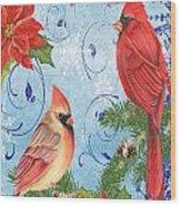 Winter Blue Cardinals-joy Card Wood Print