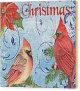 Winter Blue Cardinals-merry Christmas Card Wood Print