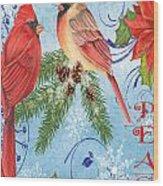 Winter Blue Cardinals-peace Card Wood Print