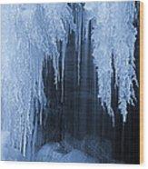 Winter Blues - Frozen Waterfall Detail Wood Print