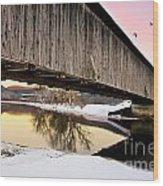 Winter Bridge Geese At Sunset Wood Print