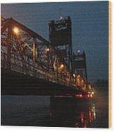 Winter Bridge In Fog 2 Wood Print