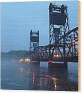 Winter Bridge In Fog Wood Print