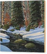 Winter Brook Wood Print