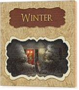 Winter Button Wood Print by Mike Savad