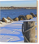 Winter By The Bay Wood Print