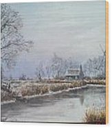 Winter By The River Wood Print