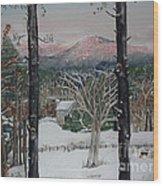 Winter - Cabin - Pink Knob Wood Print