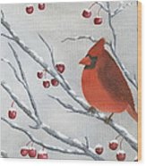 Winter Cardinal Wood Print by Peter Miles