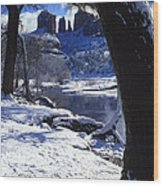 Winter Cathedral Rock Wood Print