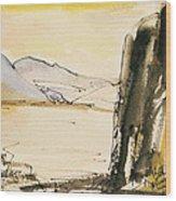 Winter Cliff Wood Print