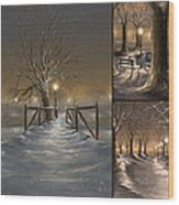 Winter Collage Wood Print