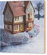 Winter Cottage In Gloved Hand Wood Print