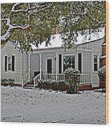 Winter Cottage Wood Print