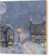 Winter Cottages In Snow Wood Print