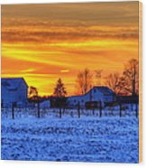 Winter Country Sunset Wood Print