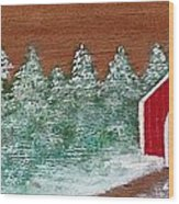 Winter Covered Bridge Wood Print