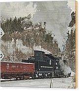 Winter Crossbuck Crossing Wood Print