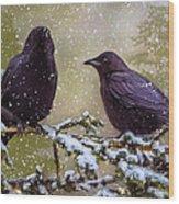Winter Crows Wood Print