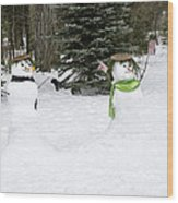 Winter Dance Of The Snow People Wood Print