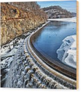 Croton Dam At Winter Wood Print