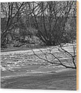 winter day BW-Black and white presentation of Snow on a frozen creek south  Wood Print
