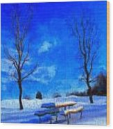 Winter Day On Canvas Wood Print