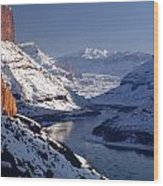 612702-winter Desert River, Ut Wood Print