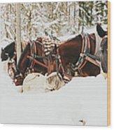 Horses Eating In Snow Wood Print