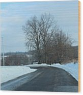 Winter Drive In The Country Wood Print