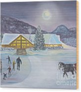 Winter Evening At Evergreen Lakehouse Wood Print