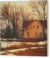 Winter Farhouse Wood Print