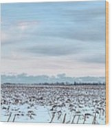 Winter Farm Field Wood Print