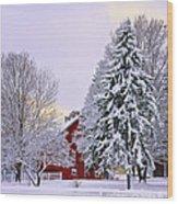 Winter Farm Scene Wood Print