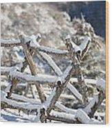 Winter Fence Line  Wood Print