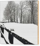 Winter Fence Wood Print