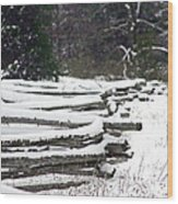 Winter Fence Wood Print by Ty Helbach