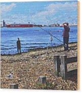 Winter Fishing At Weston Shore Southampton Wood Print