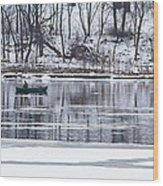 Winter Fishing - Wisconsin River Wood Print