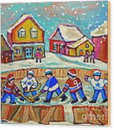 Winter Fun At Hockey Rink Magical Montreal Memories Rink Hockey Our National Pastime Falling Snow   Wood Print